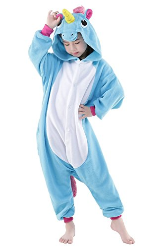 Moderne Kostüme Maskenball (RandLand Kinder Einhorn Kostüm Tier Erwachsene Schlafanzug kigurumi Cosplay Pyjama XXX-Small, Blue)