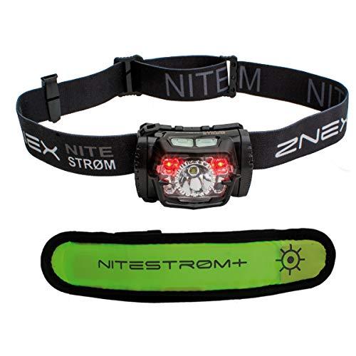 ZNEX Nitestrøm II | Kleine, leichte und extrem helle LED Stirnlampe mit 220 Lumen, Infrarot-Sensor-Gestensteuerung, Rotlicht, Blinklicht + GRATIS LED-Leuchtarmband