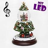 Traumhaft schöne XXL Schneekugel, Weihnachtsbaum mit Eisenbahn und Schneewirbel, Ø 85 mm