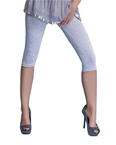infatti Blickdichte Damen Leggings Capri Hose aus Baumwolle 3/4 Länge alle Farben & alle Größen (S - 36, Melange)