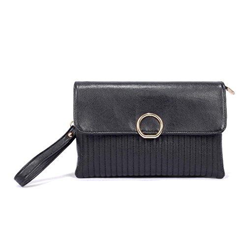 Borsa Della Frizione Sacchetto Di Spalla Signora Messenger Bag Modo Della Molla Black