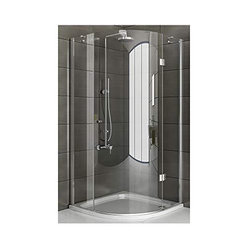 Duschkabine 3-teilig als Runddusche, Echtglas Duschabtrennung ca. 90x90x200 cm aus ESG Sic