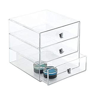 InterDesign Drawers Storage Box with Drawers for Make-Up, Compact Jewellery Organiser for Countertops or Wardrobes, Sturdy Plastic, Clear