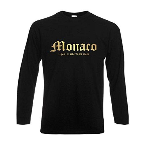 Longsleeve MONACO never walk alone Herren langarm T-Shirt Länder Fanshirt schwarz auch große Größen Übergrößen S-6XL (WMS01-39b) Mehrfarbig