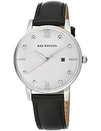 Ray Winton de la mujer wi0106Analog Fecha Blanco Dial Negro Cuero Reloj
