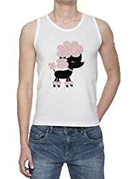 Perro Del Caniche De Tirantes Camiseta Para Hombre Blanca Todos Los Tamaños | Men's White Tank T-Shirt Vest Top