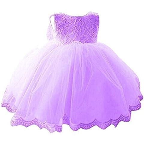 Kleinkinder Baby Mädchen Kleid IHRKleid® Blumenspitze Prinzessin Kleid Hochzeit Partykleid Taufkleid Tüll Festzug (80, 9-16 Monate, Lila)
