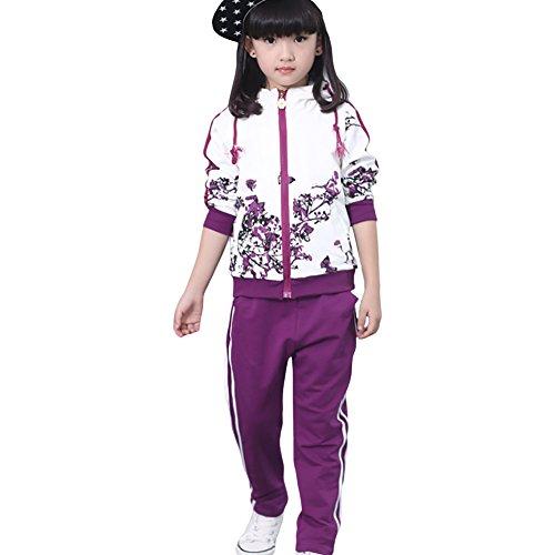 Free Fisher Mädchen 2tlg Bekleidungsset Jacke + Hose, Violett Blume, Gr.122/128(Herstellgrße: 130)