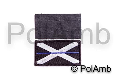 Polamb Produkte Dünn Blaue Linie Schottische Polizei Union Jack Haken + Loop Verstärkte Aufnäher (UK Schottland Abzeichen Abzeichen) Klein