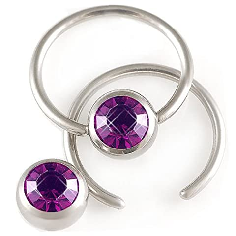 14g 14 gauge 1.6mm 5/8 16mm Steel nipple bar ear ring closure bcr captive bead Crystal Amethyst Pierced Body Jewellery 2 Pcs AEDK