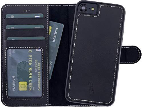 Burkley Lederhülle geeignet für Apple iPhone 8 / iPhone 7 mit abnehmbare Handyhülle - 2in1 Schutzhülle - bruchfest - QI-fähig - Handmade (Schwarz) -
