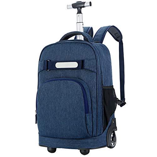YEXIN Wasserdichter Rolling-Rucksack aus Nylon Rolling-Rucksack 18 Zoll Freilauf-Schule für Reisen mit Rollen (Farbe : Blau) (Schmetterling Rolling Rucksack)