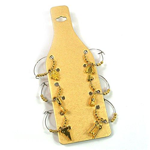 Käse Mottoparty Weinglas-Charms Set von 6handgefertigt mit Perlen auf einer Gold Geschenk Karte gold (Einfache Halloween-karten)
