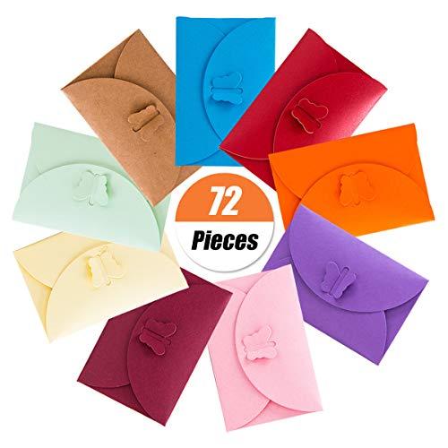 72 Stück Mini-Umschläge,Mehrfarbig Niedlich Umschläge Kraftpapierumschläge für Geschenkkarte Hochzeit, Einladungskarten, Grußkarten,Geburtstag Party Supplies,10 Farben(10.5 x 7 cm /4.1 x 2.7 Inch) (Mit 5x7 Versand Kostenloser Umschläge)