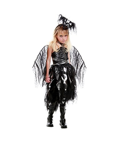 Naphil dark Angle schwarzer Engel Kinder Mädchen Fasching Halloween Karneval Kostüm (Dark Kostüm Princess Halloween)