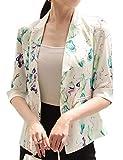 Snone Damen Blazer Anzugjacke Mantel Büro Jäckchen Anzug Blumenmuster Strickjacke Cardigan Slim Fit Vorne Offnung Tasche Blazer mit Einen Knopf
