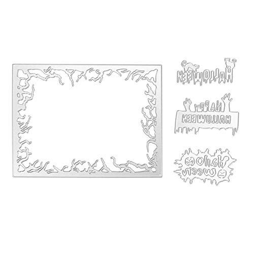 (vanpower 4 stücke Halloween Stanzformen Metall Schablonen für DIY Papier Karte Scrapbooking Präge Album Handwerk, MS-500)