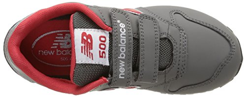 New Balance NBKV500BAP Sneaker, Bambino Grey/Red