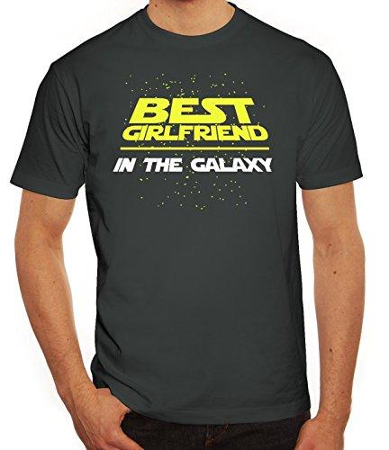Valentinstag Paar Partner Valentine Herren T-Shirt mit Best Girlfriend In The Galaxy Motiv Darkgrey