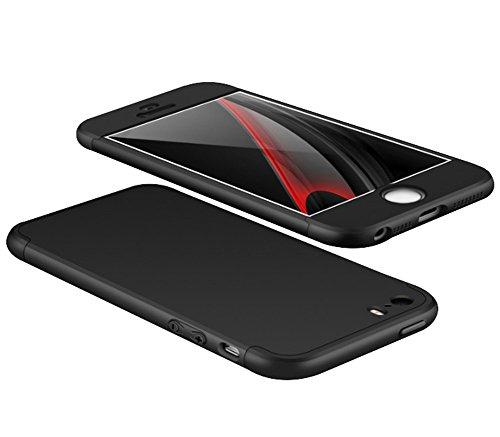 Qissy®3 in 1 Ultra Dünner PC Harte Case 360 Grad Schutzharte iPhone 5 5s SE Fall Premium mattierte Schutzhülle (iPhone 5 5s SE, Schwarz)