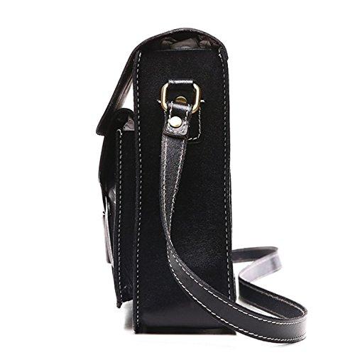 Otomoll Frau Single Schultertasche_Mode Leder Handtasche Handgefertigte Dame Schulter Kopf Schicht 8603 black