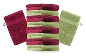 10er Pack Waschhandschuhe Waschlappen Premium Farbe Dunkel Rot & Apfel Grün Größe 16x21 cm Kordelaufhänger 100% Baumwolle