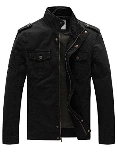 Wenven Jacken Herren Übergangsjacke Casual Militär Baumwolle Leichte Windbreaker Schwarz DE 52 (Label Medium)