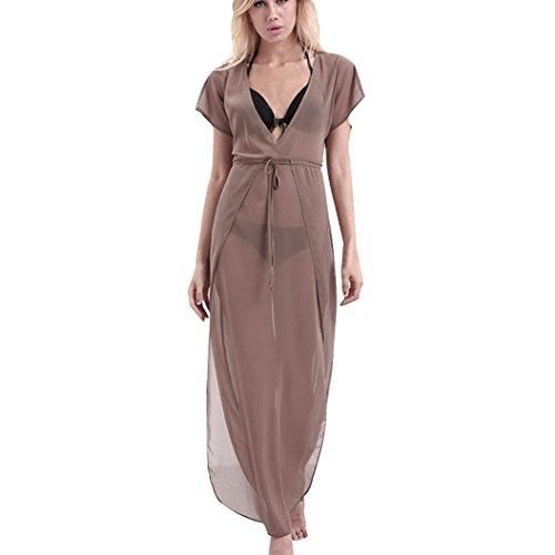 Kleider Damen Dasongff Strandkleid Frauen V-Ausschnitt Kleider Kurzarm Chiffonkleid Boho Lang...