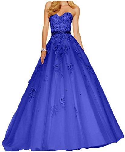 Charmant Damen Wunderschoen Spitze Abendkleider Ballkleider A-linie Lang Tanzenkleider Abschlussfeiern Abiballkleider Royal Blau