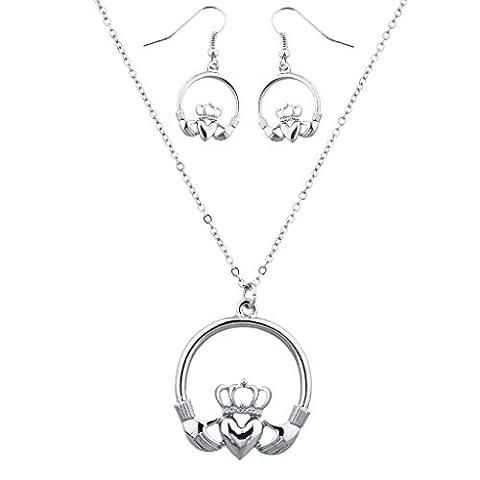 Lux Accessoires Argenté Claddagh Boucles d'oreille et collier Set (2pcs)