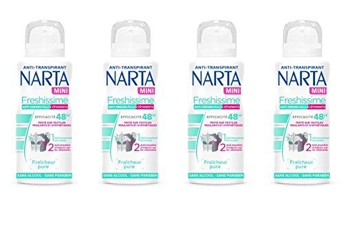 NARTA Freshissime Mini Déodorant Atomisateur Anti-Transpirant 100 ml - Lot de 4