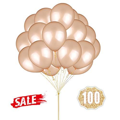 Hoshin Luftballons Luftballons 12 Zoll verdicken Latex Metallic Ballons 100 Stück für Hochzeitsfeier Babydusche Weihnachten Geburtstag Karneval Party Dekoration Lieferungen (Champagner)