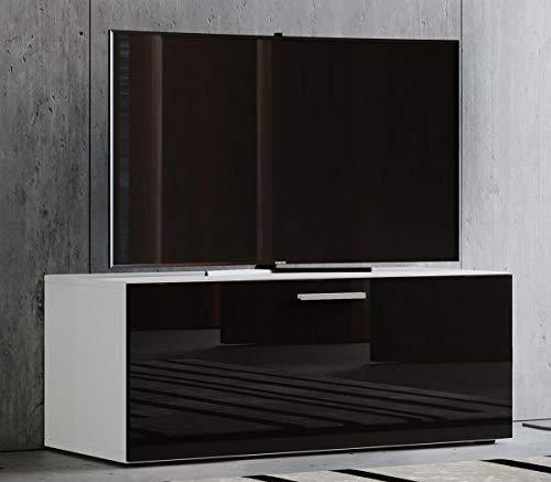 VCM Winalo 95 Meuble TV, Bois, Blanc/Noir, 40 x 95 x 36 cm