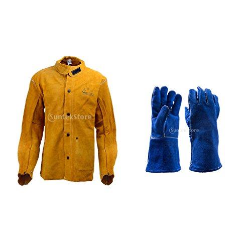 Sharplace Kurz Schweißer Schweißen Jacke mit Lange Schweißhandschuhe Schutzkleidung Bekleidung Anzug Schweißerschutzjacke Schweißerjacke - L (Feuerhemmende Kleidung)