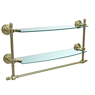 Allied Brass Double Shelf W/Towel Bar Satin Brass