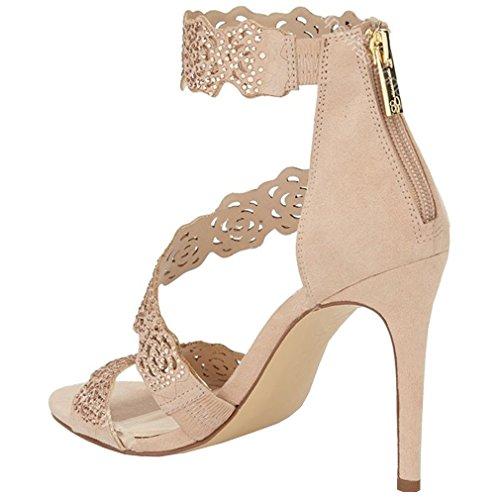 ENMAYER Femmes Boucle Soutien-gorge Talons hauts Peep Toe Soutien-gorge Robe pour Femmes Stiletto Chaussures Été Chaussures Sandales Abricot