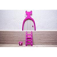 Ratoncito Pérez puerta rosa a su casita con escalera y cajita para diente. HECHO EN ESPAÑA