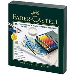 Faber-Castell 117538 - Estuche estudio con 36 lápices de colores acuarelables, multicolor