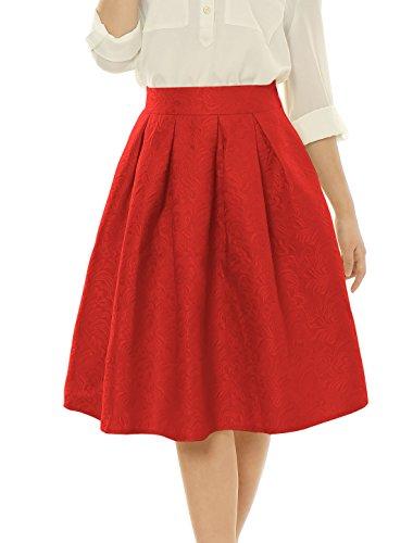 allegra-k-femme-taille-haute-floral-jacquard-plisse-jupe-evasee-rouge-100-polyester-femmes-xs-uk-4