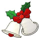 Ecusson - cloches de noël Noël - blanc - 7,5x7,5cm - patches brode appliques embroidery thermocollant