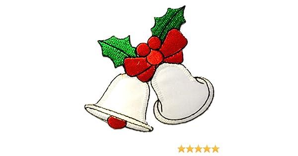 Ecusson cloches de noël Noël 7,5x7,5cm patches brode appliques embro blanc