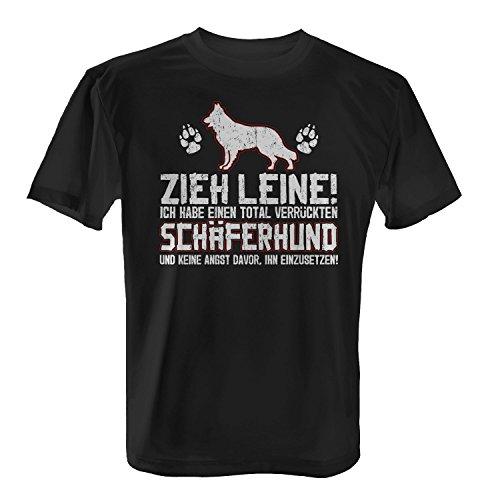 Fashionalarm Herren T-Shirt - Zieh Leine - verrückter Schäferhund | Fun Shirt mit lustigem Spruch Herrchen Hunde Besitzer Rasse Hund Deutscher, Farbe:schwarz;Größe:M -