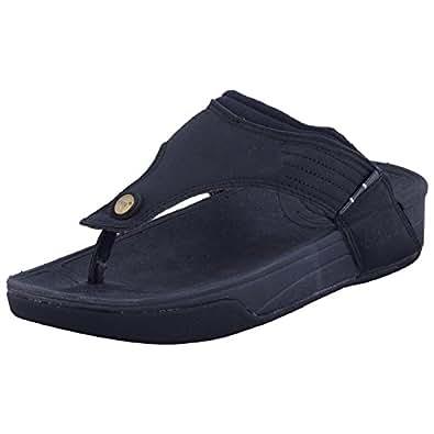 Primes Stylish Mens Casual Black Slipper for Men (KAN020)