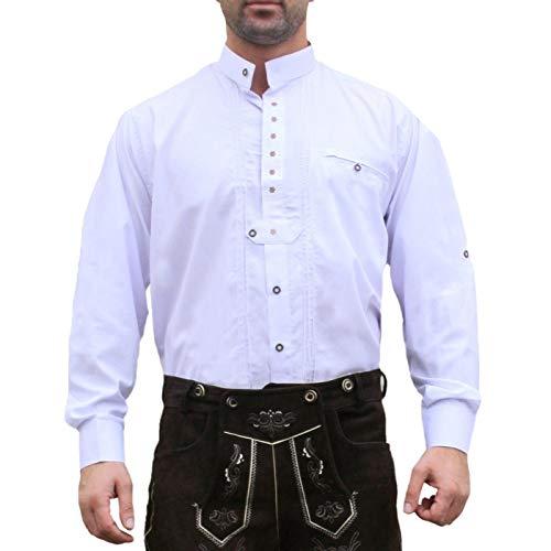 Trachtenhemd Hemd f�r Trachten Lederhosen edelwei� bestickt Wei�, Hemdgr��e:3XL