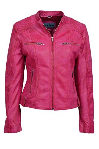 Damen 8322 PINK FUCHSIE ROSAFARBEN Biker Stil Designer Echt Nappa italienischen Lederjacke (12)