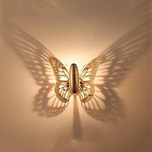 LED Kinder dekorative Wandleuchten, Comic Romantic Gold Metal Schmetterlings Schatten Beleuchtung Plug-in Nachtlicht Mode Wohnzimmer Cafe Esstisch Eisen Wandlampen Illusionslampe (Color : With plug)