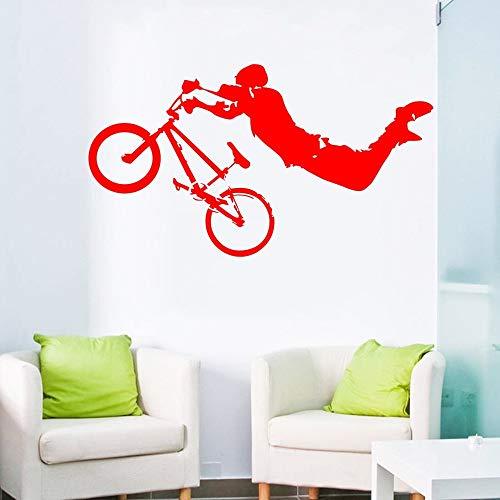 JJHR Wandtattoos Wandaufkleber Junge Riesen BMX Wandkunst Wandtattoo Wohnkultur Wandaufkleber Bett Zimmer Dekor Wandbild Poster 57 * 30 cm -