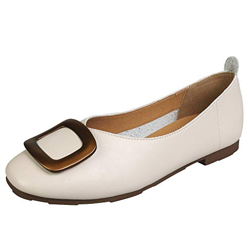 Jamron Mujer Punta Cuadrada Zapatillas de Ballet Pantuflas Suave Zapatos Dolly Pumps Beige SN02892 EU35...