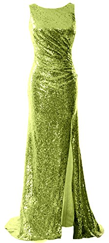MACloth Women Cowl Back Sequin Long Bridesmaid Dress with Slit Maxi Prom Dress Olive Green