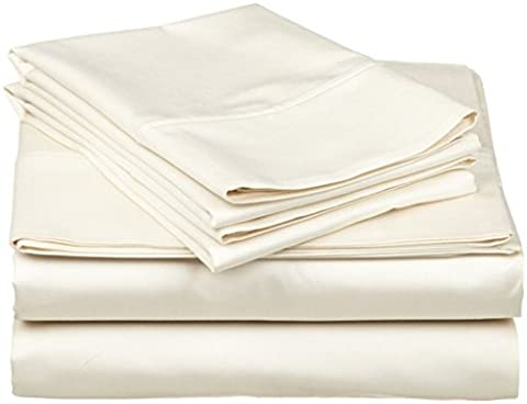 3 PCs Duvet Set Egyptian Cotton 1000-Thread-Count Finest Quality Durable Sateen Finish Comfortable British Choice Linen ( Ivory Solid,Double Size